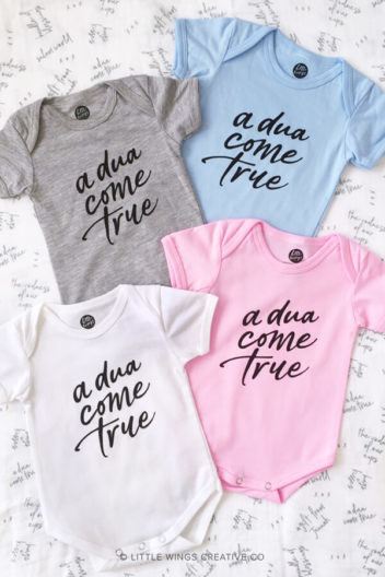 Dua Come True Muslim Baby Onesie Colours