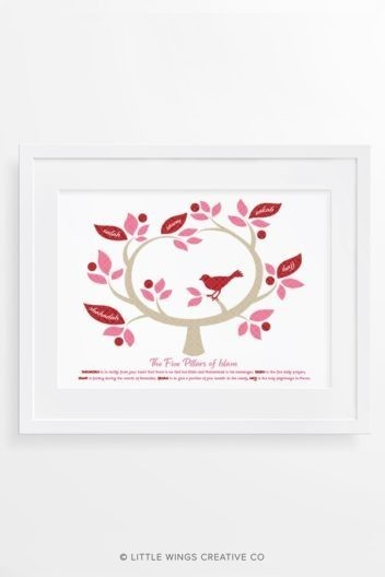 Five Pillars Of Islam Pink Tree Islamic Art print