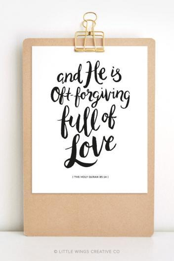 He is Oft-Forgiving Printable Quran Quote 1